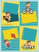 Sport,Childhood,Bicycle,Reading,Book,Boys,Child,Event,template,Congratulating,Greeting,Scrapbook,People,Cute,Celebration,Backgrounds,Invitation,Plan,Label,Birthday,Multi Colored,Smiling,Playful,Mascot,Vector,Illustration,Toy