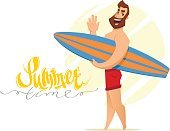 Sport,Vector,Illustration,Vacations,Summer,People,Text,Fun,Beard,Happiness,Surfing,Greeting,Outdoors,Beach,Cute,Sea,Men