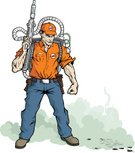 Exterminator,Pest Control Equipment,Cockroach,Pest,Insect,Men,Dead Animal,Spraying,Garden Hose,Killing,Vector,Destruction,Spray,Unhygienic,Occupation,Toxic Substance,Dirty,Protection,Protective Workwear,Ilustration,Job - Religious Figure,Uniform,Industry,People,Illustrations And Vector Art