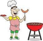 Adult,Cut Out,Heat - Temperature,Characters,Real People,Men,Food,Meat,Outdoors,Sausage,Dinner,Lunch,Picnic,Chef,Cooking,Party - Social Event,Fire - Natural Phenomenon,Summer,Coal,Barbecue,Beef,Grilled,Illustration,Cartoon,Meal,Barbecue Grill,Vector,Cap,Hat,Cap,Apron,Chef's Hat,Toque