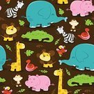 Animal,Backgrounds,Cute,Jungle Animals,Safari Animals,Pattern,Animal Themes,Seamless,Vector,Smiling,Snake,Lion - Feline,Animals In The Wild,Tropical Rainforest,Cheerful,Crocodile,Fun,Repetition,Illustration,Giraffe,Elephant,African Culture,Africa,Parrot,Hippopotamus,Zebra,african animals