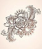 Flower,Sketch,East Asian Culture,Design,Ethnic,Brown,Computer Graphic,Henna Tattoo,Abstract,Illustration,Intricacy,light background,Beautiful,Mhendi,Contrasts,Nature,tattoo style,Ornate,Decoration,Outline,Color Image,Vector,Doodle,Fantasy,Rosé,Tattoo,Boho,Pattern,Indian Culture,Drawing - Art Product