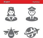 Men,Pilot,Avatar,Women,Cabin Crew,Flying,Airplane,Icon Set,Global,Earth,Air Vehicle,Air Stewardess,Uniform,Commercial Airplane,Globe - Man Made Object,Travel Destinations,Symbol,Travel,People Traveling,Occupation,People,Mode of Transport,Transportation,Airport