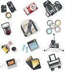 Photography,Digital Camera,Symbol,Camera Film,Printing Out,Computer Icon,Icon Set,Flat Bed Scanner,Lens - Optical Instrument,Photographic Equipment,Tripod,Bag,Personal Accessory,Camera Flash,Equipment,Battery,Vector,Strap,Paper,Color Image,Isolated,Set,Design Element,Computer Printer,Case,Polarizer,Interface Icons,Isolated On White