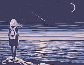 Computer Graphic,Nature,People,One Person,Bag,Illustration,Moon,Night,Elegance,Females,Moon Surface,Young Adult,Blue,Water,Girls,Sky,Style,Non-Urban Scene,Sea,Color Image,Women