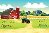 Wallpaper,Barn,Backgrounds,Tractor,Outdoors,Non-Urban Scene,Farm,Illustration,Cartoon,Drawing - Art Product,Clip Art,Modern,Vector