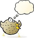 Cheerful,Doodle,Bizarre,Clip Art,Drawing - Activity,Illustration,Vector,freehand,Thought Bubble,Cute,Bird