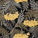 Repetition,Color Image,No People,Plant,Painted Image,Ornate,Summer,Illustration,Nature,Leaf,Symbol,Berry,Autumn,Fruit,Seamless Pattern,Decoration,Part Of,Berry,Branch,Backgrounds,Rowanberry,Vector,Gold Colored,Pattern,Gray,Floral Pattern