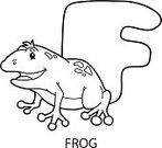 Animal,Frog,Cartoon,Alphabet,Illustration,Mascot,Amphibian,Outline,Coloring Book,Drawing - Activity,Vector