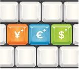 Computer Keyboard,Computer Key,Currency Exchange,Computer,Push Button,Euro Symbol,Exchange Rate,Vector,Business,Stock Market Data,Dollar Sign,Close-up,Yen Sign,Copy Space,No People