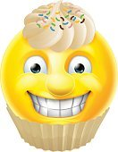 Humor,Characters,Food,Happiness,Symbol,Sign,Sweet Food,Human Body Part,Human Head,Human Face,Cake,Cheerful,Birthday,Backgrounds,Fun,Orthographic Symbol,Computer Icon,Dessert,Muffin,Baked,Cute,Anthropomorphic Smiley Face,Illustration,Cartoon,Emoticon,Vector,Cupcake,Icing,Sprinkles,Buttercream,Clip Art,Avatar,Kawaii,Smiley Face,Facial Mask - Beauty Product,Smiling,White Color,Yellow,White Background