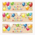 Celebration,Pennant,Holiday - Event,Greeting Card,Placard,Collection,Illustration,Birthday,Happiness,Balloon,Confetti,Vector,Multi Colored