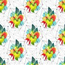 Geometric Shape,Floral Pattern,Blossom,Illustration,Water Lily,Frangipani,Paint,Palm Tree,Lily,Bird Of Paradise - Plant,Begonia,Seamless,Watercolor Painting,Inflorescence,Anthurium,Craft