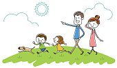 Happiness,Freshness,Environment,Lifestyles,Picnic,Walking,Smiling,Parent,Father,Mother,Family,Dog,Weather,Illustration,Cartoon,Pets