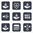 People,Security,Symbol,Sign,Communication,Bag,Computer Software,Calendar,Label,Holding,Giving,Shape,Pager,Currency,Badge,Illustration,Donation Box,Charity and Relief Work,Vector,British Currency,US Currency,Paying,Token,Wireless Technology,EUR,Mobile App,Charitable Donation
