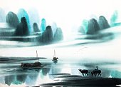 Nature,Landscape,Drawing - Art Product,Nautical Vessel,Water,Watercolor Painting,Watercolor Paints,Illustration,Style,Art,River,Painted Image,Ink,White,Lake,Chinese Culture,China - East Asia,Cloud - Sky,Cloudscape,Paintings