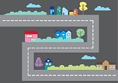Cartoon,City Map,Residential District,House,Road,In A Row,Vector,Illustration,Multi Colored,Community,Street,Direction,District,Town,Art,Computer Graphic,Built Structure,Red,Suburb,Symbol,Leisure Games,Turning,Tree,Design,Isolated,Urban Scene,City,Gray,Building Exterior,Concepts,Creativity,Country - Geographic Area,Telephone Directory,Corner,Map,Blue,Video Game
