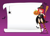 Broom,Spider,Vector,Illustration,Jack O' Lantern,Pumpkin,Halloween,Copy Space,Backgrounds,Witch