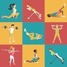 Sport,Women,Slim,Practicing,People,Characters,Exercising,Illustration,Isolated,Men,Barbell,Muscular Build,Dumbbell,Indoors,Brown Hair,Leggings,Strength,Hyperextension,Adult,Domestic Room,session