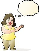 Cheerful,Drawing - Activity,Doodle,Bizarre,Clip Art,Illustration,Cute,Singing,Women,Vector,freehand,Thought Bubble,Overweight