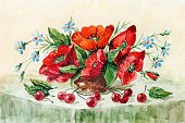 Creativity,Bouquet,Nature,Composition,Horizontal,Still Life,Green Color,Red,Flower,Uncultivated,Poppy,Cherry,Berry Fruit,Watercolor Painting,Illustration,Painted Image,No People,Wildflower
