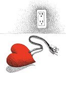 People,Power Cable,Cable,Electric Circuit,Illustration,Human Internal Organ,Power Supply Box,Solitude,Electric Plug,Heart Shape,Human Heart,One Person,Power Supply,Loneliness,Love