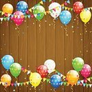 Celebration,Color Image,No People,Balloon,Timber,Wood - Material,Backgrounds,Confetti,Illustration,Plank,Vector,Holiday - Event,Multi Colored,Textured,Vibrant Color