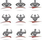 Adult,Men,Background,Body Building,Sign,Equipment,Exercising,Collection,Illustration,Symbol,Sport,Insignia,Picking Up,Backgrounds,Lifestyles,Vector,Dumbbell,Label,Badge,Holding