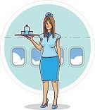 People,Business,Vacations,Air Vehicle,Cheerful,Occupation,Flying,Juice,Commercial Airplane,Blue,Wind,Greeting,Adult,Illustration,Women,Vector,Service,Air Stewardess,Service,Business Finance and Industry