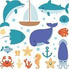 Cheerful,Collection,Cramp,Dolphin,Nautical Vessel,Backgrounds,Vector,template,Animal,Cute,Illustration,Starfish,Summer,Underwater,Whale,Sea Horse,Sailing,Jellyfish,Nature,Sea,Food