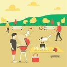 Nature,Invitation,Day,Men,Bright,Backgrounds,Family,Cartoon,Meat,Dog,Fun,Grass,Relaxation,Fried,Formal Garden,Smoke - Physical Structure,Plastic Disc,Sky,Cooking,Smiley Face,Leisure Activity,Boys,Outdoors,Chef,Holiday,Happiness,Weekend Activities,Vector,Lunch,Flat,Vibrant Color,Summer,Heat - Temperature,Party - Social Event,Illustration,Barbecue Grill,Food,Park - Man Made Space,Picnic,Flowerbed,Refreshment,Walking,Tree,Cheerful,Lifestyles,Beef,Males,Father,Smiling,Recreational Pursuit