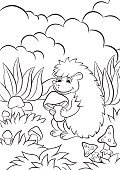 Characters,Happiness,Fun,Nature,Child,Vector,Cute,Book,Activity,Color Image,Animals In The Wild,black-and-white,Toadstool,Small,Baby,Backgrounds,Contour Drawing,Forest,Outline,Flower,Hedgehog,White,Mushroom,Cartoon,Page,Illustration,Animal,Black Color,Painted Image,Coloring,Life,Wildlife,Smiling,Summer,Cheerful,Computer Graphic,Ink,Posing