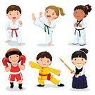 People,Playing,Kicking,Childhood,Sport,Friendship,Activity,Motion,Healthy Lifestyle,Fu,Kendo,Aggression,Karate,Judo,Practicing,Caucasian Ethnicity,Set,Belt,Cute,Boys,Child,Vector,Illustration,Isolated,Cartoon,Competitive Sport,Isolated On White,Boxing,martial,Kung,Taekwondo,Skill,Fighting,Sports Uniform