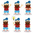 Males,Beard,Characters,Vector,Illustration,Hipster,Textile,Cheerful,Light Bulb,Eyeglasses,Posing,Young Adult,Men,Facial Expression,Cap,Ideas,Emotion,Happiness,Simplicity,The Human Body,Set,Boys,One Person,Fun,Cartoon