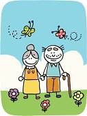 Senior Adult,Heterosexual Couple,Cartoon,Grandmother,Love,Cheerful,Happiness,People,Flower,Smiling,Ilustration,Doodle,Togetherness,Outdoors,Butterfly - Insect,Nature,Child's Drawing,Drawing - Art Product,Father,Mother,Positive Emotion,Green Color,Daisy,Illustrations And Vector Art,Families,Standing,Vector Cartoons,Looking At Camera,Image,Line Art,Scribble,Valentine's Day - Holiday,Pencil Drawing,Sketch,Lifestyle,Adults