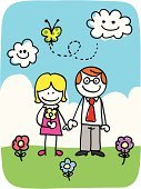 Parent,Cartoon,Mother,Father,People,Doodle,Heterosexual Couple,Love,Drawing - Art Product,Flower,Cheerful,Child's Drawing,Happiness,Line Art,Sketch,Ilustration,Daisy,Togetherness,Outdoors,Nature,Positive Emotion,Looking At Camera,Scribble,Lifestyle,Illustrations And Vector Art,Standing,Families,Green Color,Pencil Drawing,Smiling,Image,Vector Cartoons,Adults