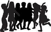 Fun,Backpack,Posture,Group Of People,Boys,Dancing,Illustration,People,Vector,Dance And Electronic
