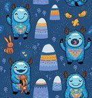 Abstract,Creativity,Genetic Mutation,Cute,Friendship,Bizarre,Nature,Textile,Hare,Child,Imagination,Demon,Blue,Computer Graphic,Humor,Ugliness,Boys,Mountain,Bird,Pattern,Animal,Fun,Backgrounds,Illustration,Vector,Seamless