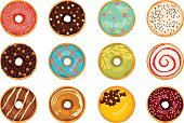 Donut,Glazed,Icing,Baking,Sprinkling,flavored,White Background,Sweet Food,Pastry,Dessert,Vector,Illustration,Isolated,Bakery,Drawing - Art Product,Clip Art,Design Element,Modern,Dough
