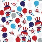 Flag,Celebration,Vector,Illustration,Clown,Seamless,Fourth of July,Pattern,Backgrounds,Cute