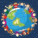 Child,Earth,Globe - Man Made Object,World Map,Cartoon,Multi-Ethnic Group,People,Planet - Space,Space,Happiness,Cheerful,Vector,Sphere,Group Of People,Ilustration,Ethnicity,Crowd,Ethnic,Global Village,Night