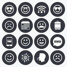 People,Technology,Fun,Vector,Human Body Part,Text Messaging,Smiling,Sign,Cheerful,Emotion,Smart Phone,Winking,Mustache,Paying,Human Face,Symbol,Sadness,Illustration,Communication,Grief,Portable Information Device,Sunglasses,Laughing,Wireless Technology,Circle,Calendar,Luggage,Joy