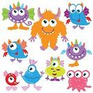 Cute,Cartoon,Smiling,Monster - Fictional Character,Fun,Humor,Vector,Illustration,Isolated,Multi Colored