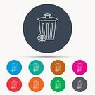 People,Social Issues,Can,Garbage,Badge,Straight,Vector,Street,Drum - Container,Blue,Sign,Barrel,Symbol,Wheel,Illustration,Order,Outline,Basket,Recycling,Cleaning,Circle,Garbage Can,Pollution