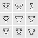 Competition,Success,Achievement,Incentive,Honor,Silhouette,Symbol,Sign,Trophy,Sport,Cup,In A Row,Computer Icon,Medal,Outline,Award,Winning,Arranging,Illustration,Vector,Icon Set