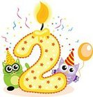 Invitation,Happiness,Greeting Card,Computer Icon,Candle,Symbol,Cheerful,Fun,Congratulating,Holiday,Baby,Child,Backgrounds,Birthday,Greeting,Placard,Humor,Young Animal,Shiny,Number 2,Decoration,Gift,Illustration,Cute,Vector,Number,Party - Social Event,Celebration,Isolated