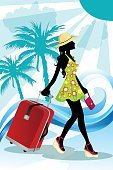 Women,Journey,Females,Girls,Back Lit,Travel Destinations,Travel,Vertical,Sunlight,Tourism,Season,People Traveling,Summer,Luggage,Tourist,Vacations,Lifestyles,Tropical Climate,Sun,Drawing - Art Product,Illustration,Skirt,Walking,Dress,Palm Tree,Vector,Silhouette