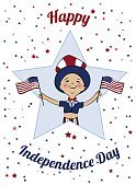 Holding,Day,July,Parade,Circa 4th Century,Flag,USA,Cultures,Event,Greeting,Celebration,National Landmark,Boys,Vector,Illustration,Fun,Smiling,Invitation,Joy,Patriotism,Red,Hat,Uncle,Child,Unity,Blue,Surface-to-air Missile