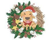 Decoration,Wreath,Christmas Decoration,Christmas Ornament,Greeting,Purebred Dog,Cartoon,Gold Colored,Design,Golden-retriever,Christmas,Holiday,Illustration,Winter,Dog,Cheerful,Season,Retriever,Celebration,Computer Graphic,Greeting Card,Gift,Vector