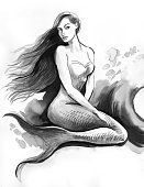 Women,Wave,Drawing - Art Product,Sketch,Fantasy,Mermaid,One Person,Long Hair,People,Fictional Character,Young Women